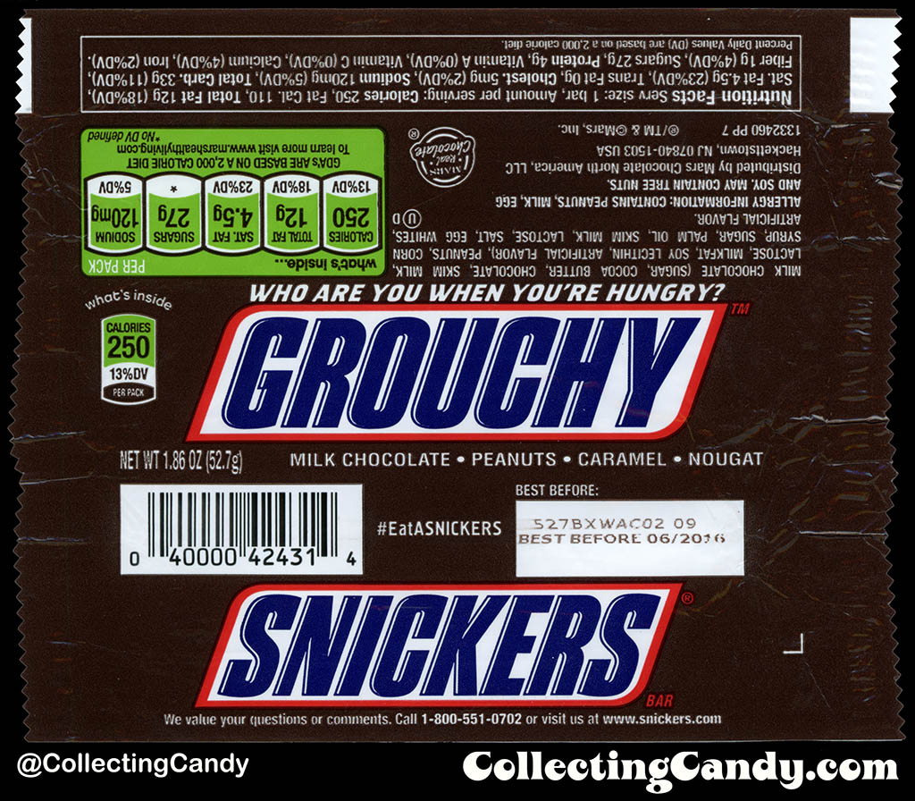 Mars - Snickers - EatASnickers trait bar - Grouchy - 1.86 oz chocolate candy bar wrapper - 2015
