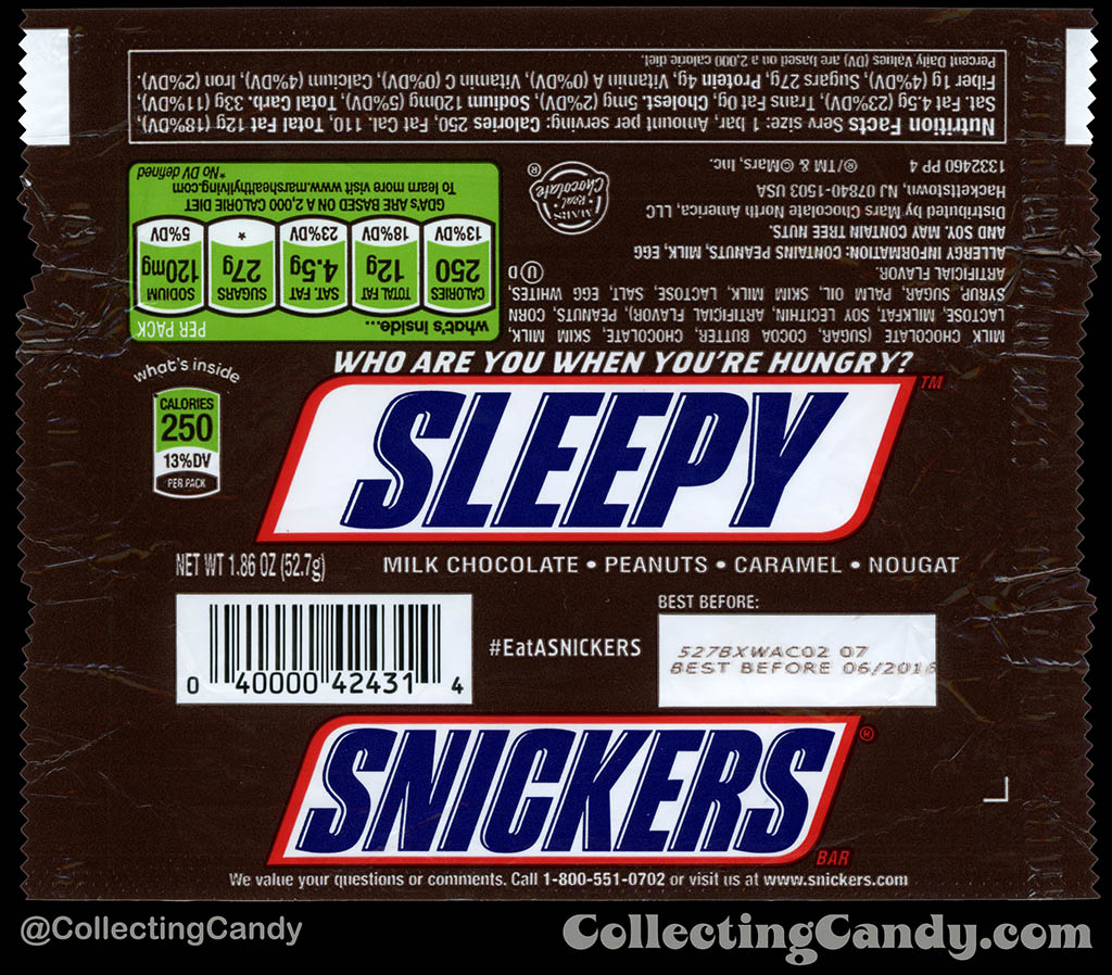 Mars - Snickers - EatASnickers trait bar - Sleepy - 1.86 oz chocolate candy bar wrapper - 2015