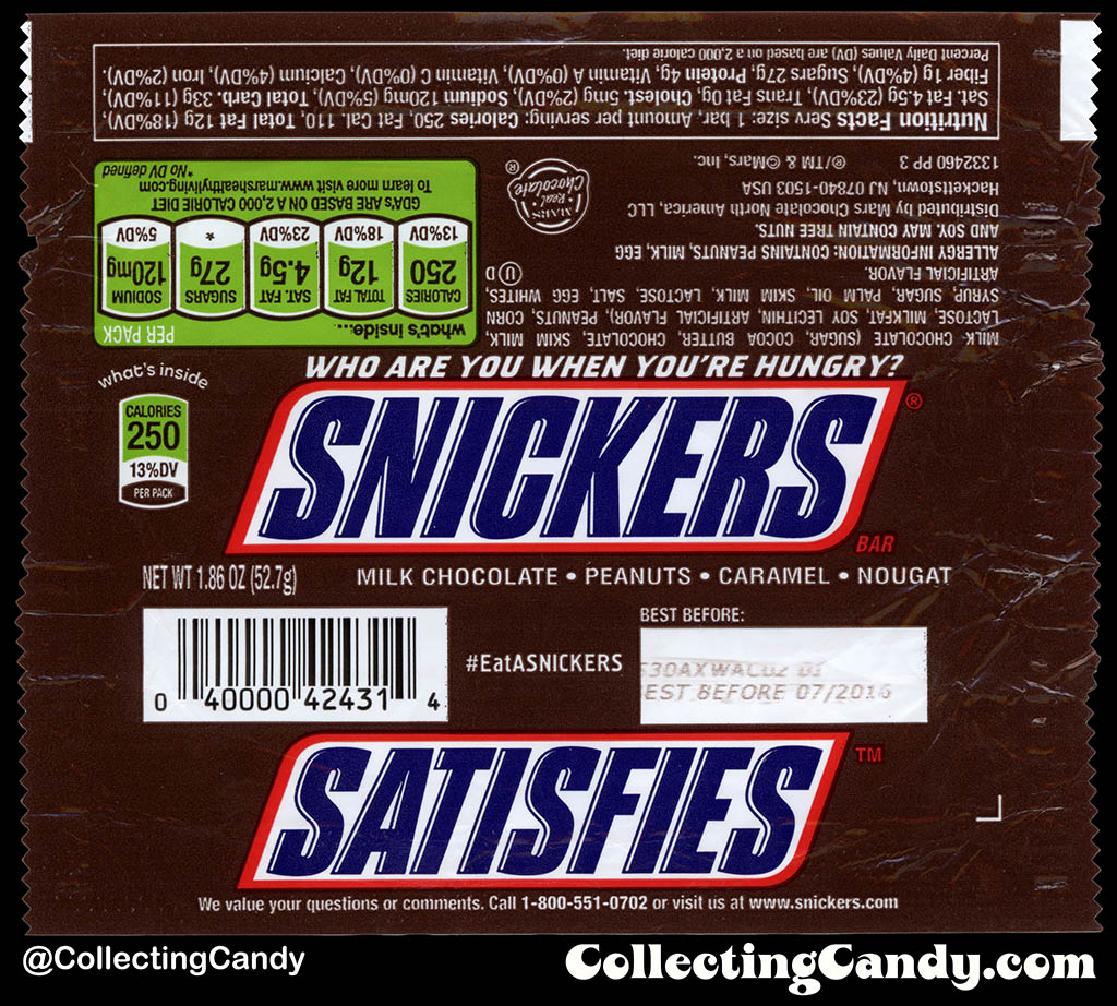 Mars - Snickers - EatASnickers trait bar - Snickers Satisfies - 1.86 oz chocolate candy bar wrapper - 2015