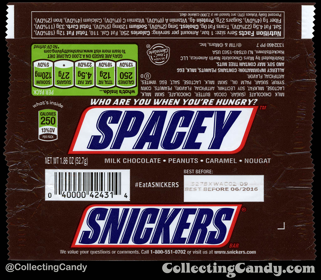 Mars - Snickers - EatASnickers trait bar - Spacey - 1.86 oz chocolate candy bar wrapper - 2015
