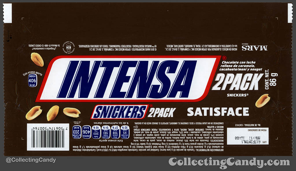 Mexico - Mars - Snickers 2 Pack - Satisface - Intensa - Intense - 86 g bar wrapper - 2016