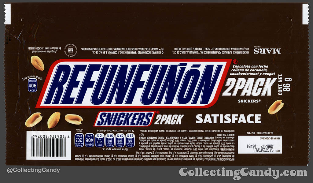 Mexico - Mars - Snickers 2 Pack - Satisface - Refunfunon - Grumble - 86 g bar wrapper - 2016