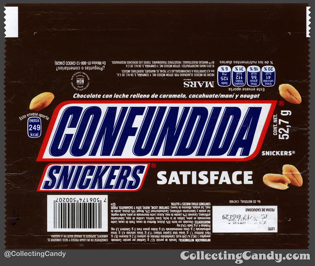 Mexico - Mars - Snickers - Satisface - Confundida - Confused - 52,7 g bar wrapper - 2016