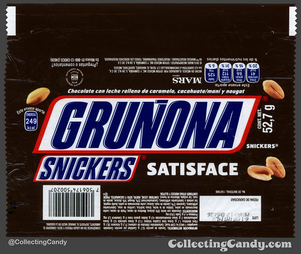Mexico - Mars - Snickers - Satisface - Grunona - Grumpy - 52,7 g bar wrapper - 2016