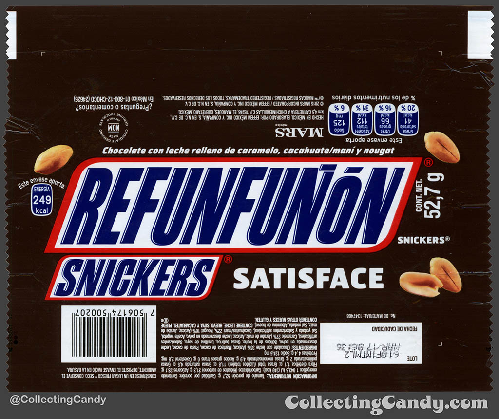 Mexico - Mars - Snickers - Satisface - Refunfunon - Grumble - 52,7 g bar wrapper - 2016