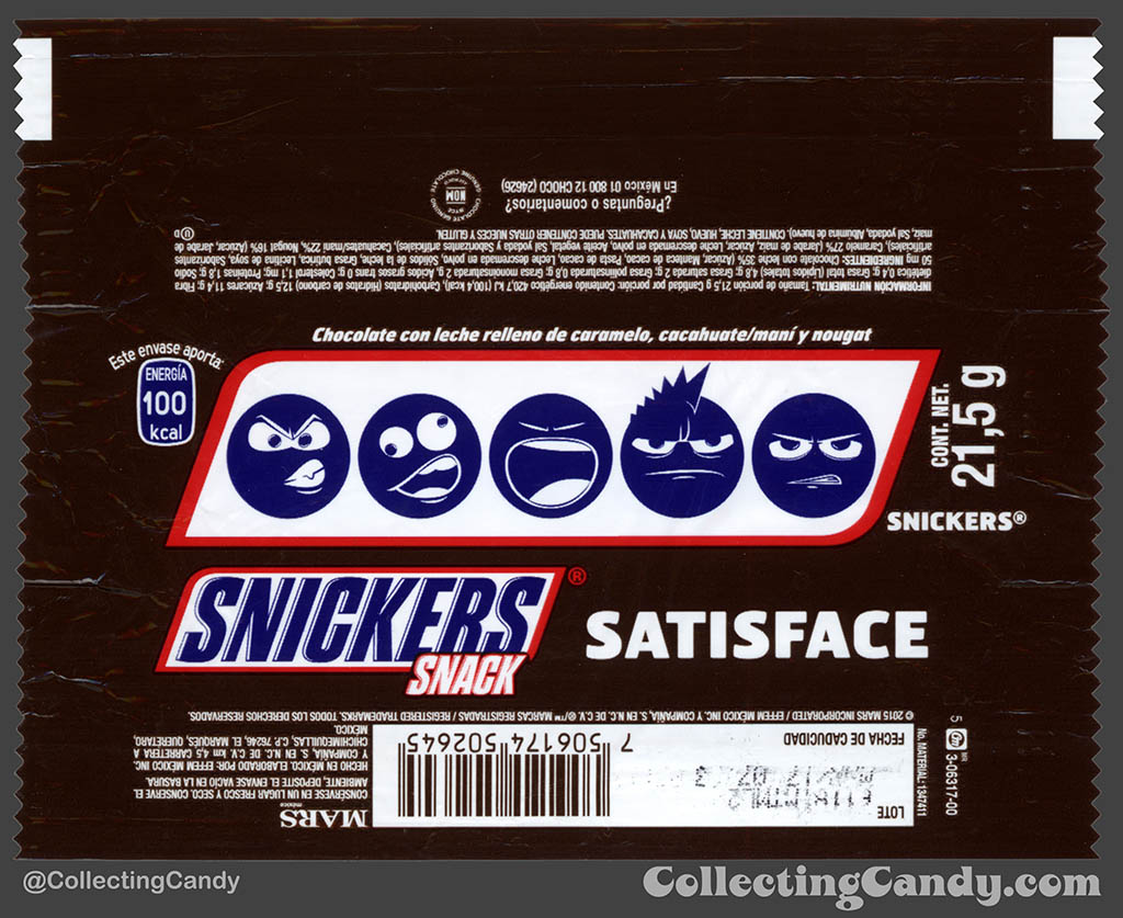 Mexico - Mars - Snickers Snack Size - Satisface - 5-guys Emoji - 21,5 g bar wrapper - 2016