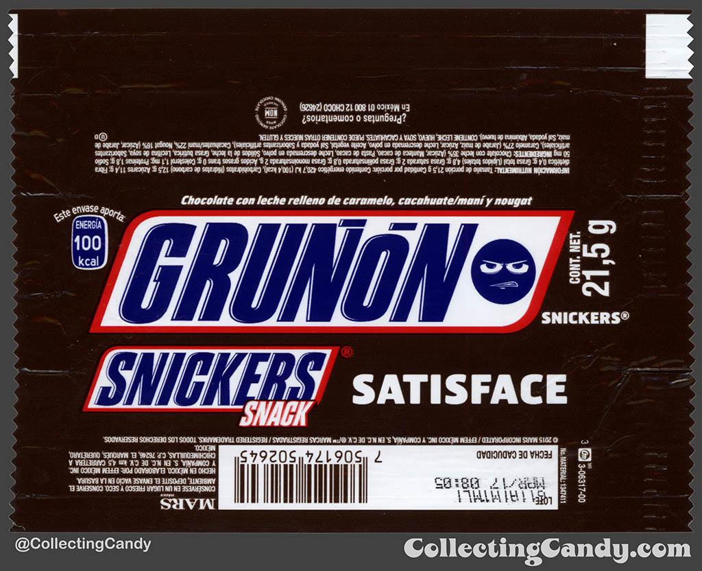 Mexico - Mars - Snickers Snack Size - Satisface - Grunon Emoji - Grumpy - 21,5 g bar wrapper - 2016