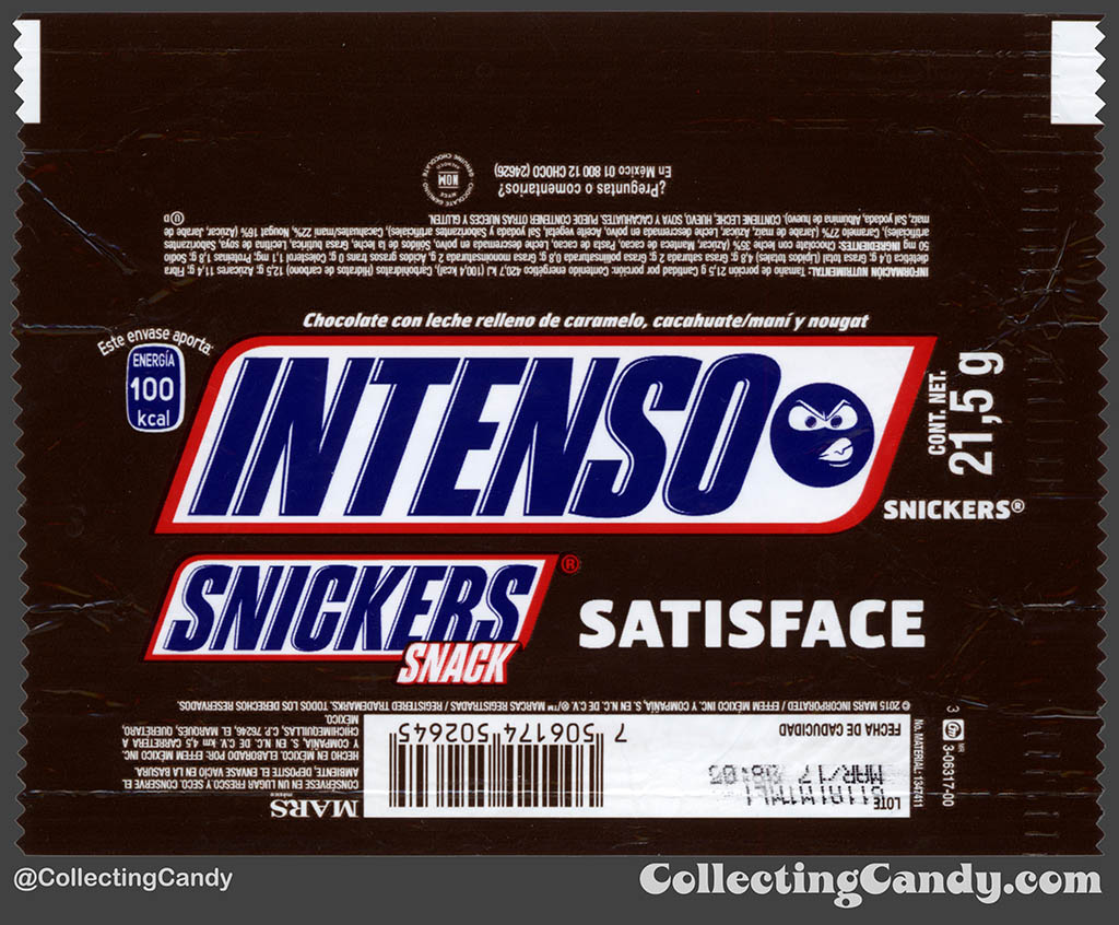 Mexico - Mars - Snickers Snack Size - Satisface - Intenso Emoji - Intense - 21,5 g bar wrapper - 2016