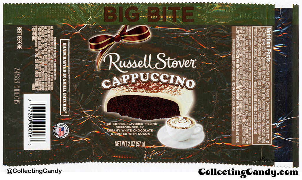 Russell Stover - Big Bite - Cappuccino - 2oz candy wrapper - 2015