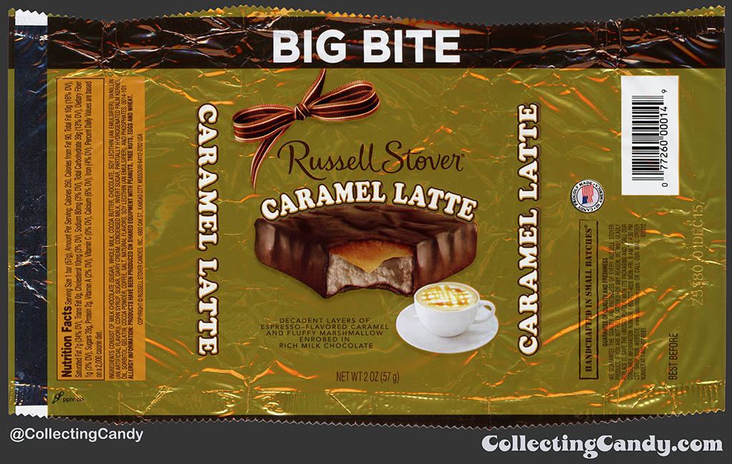 Russell Stover - Big Bite - Caramel Latte - 2oz candy wrapper - 2015