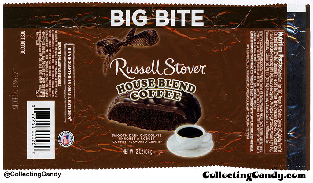 Russell Stover - Big Bite - House Blend Coffee - 2oz candy wrapper - 2015