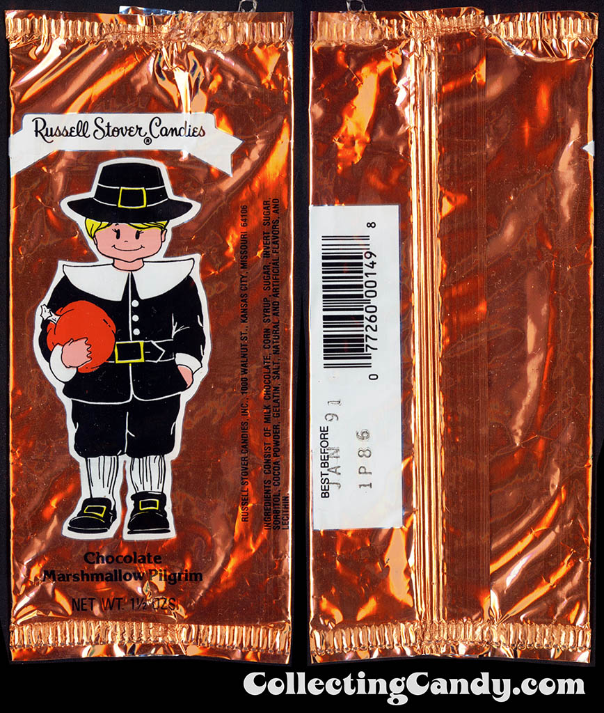 Russell Stover Candies - Chocolate Marshmallow Pilgrim - 1 1/2 oz Thanksgiving candy package - Fall 1989