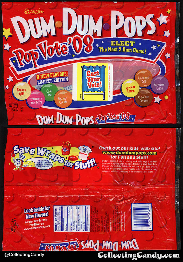 Spangler - Dum Dum Pops - Pop Vote '08 - 11oz candy package - 2008