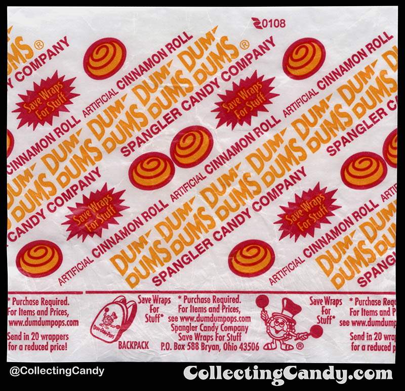 Spangler - Dum Dums Pops - Cinnamon Roll - lollipop candy wrapper - 2008