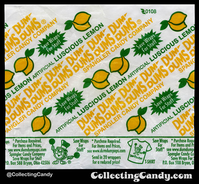 Spangler - Dum Dums Pops - Luscioius Lemon - lollipop candy wrapper - 2008