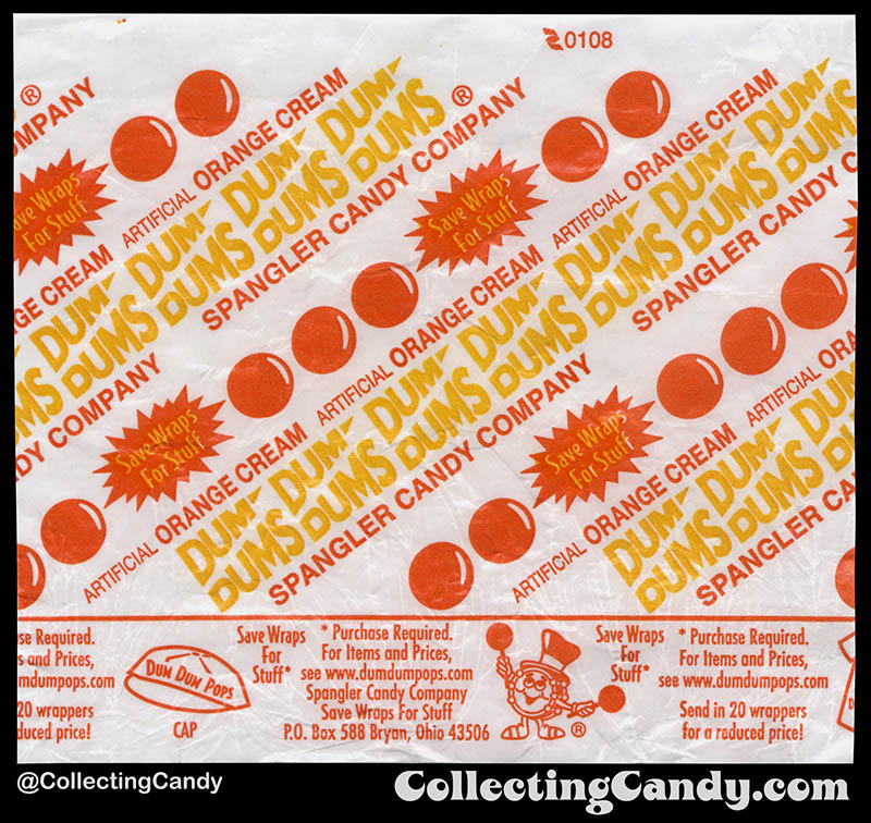 Spangler - Dum Dums Pops - Orange Cream - lollipop candy wrapper - 2008