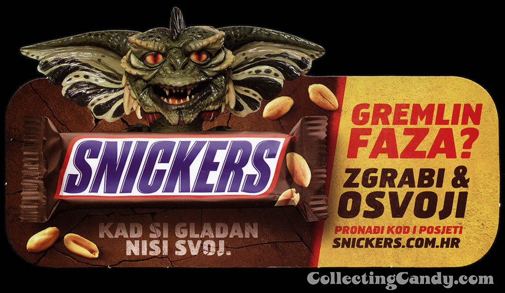 Croatia - Bosnia - Poland - Mars - Snickers - Snickers Gremlins promotional shelf talker - you're not yourself - bar burst out - Summer 2014
