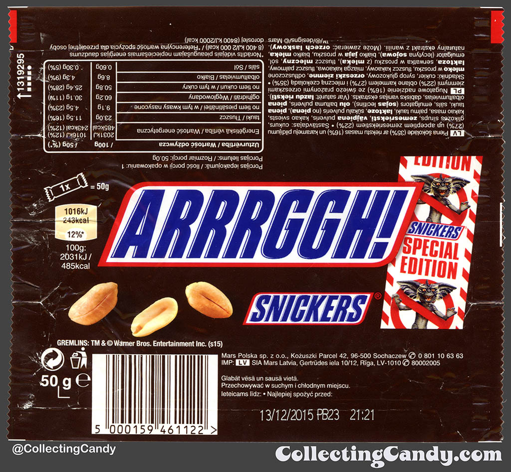Poland - Mars - Snickers Gremlins Special Edition - Arrrggh! - 50g chocolate candy bar wrapper - 2015