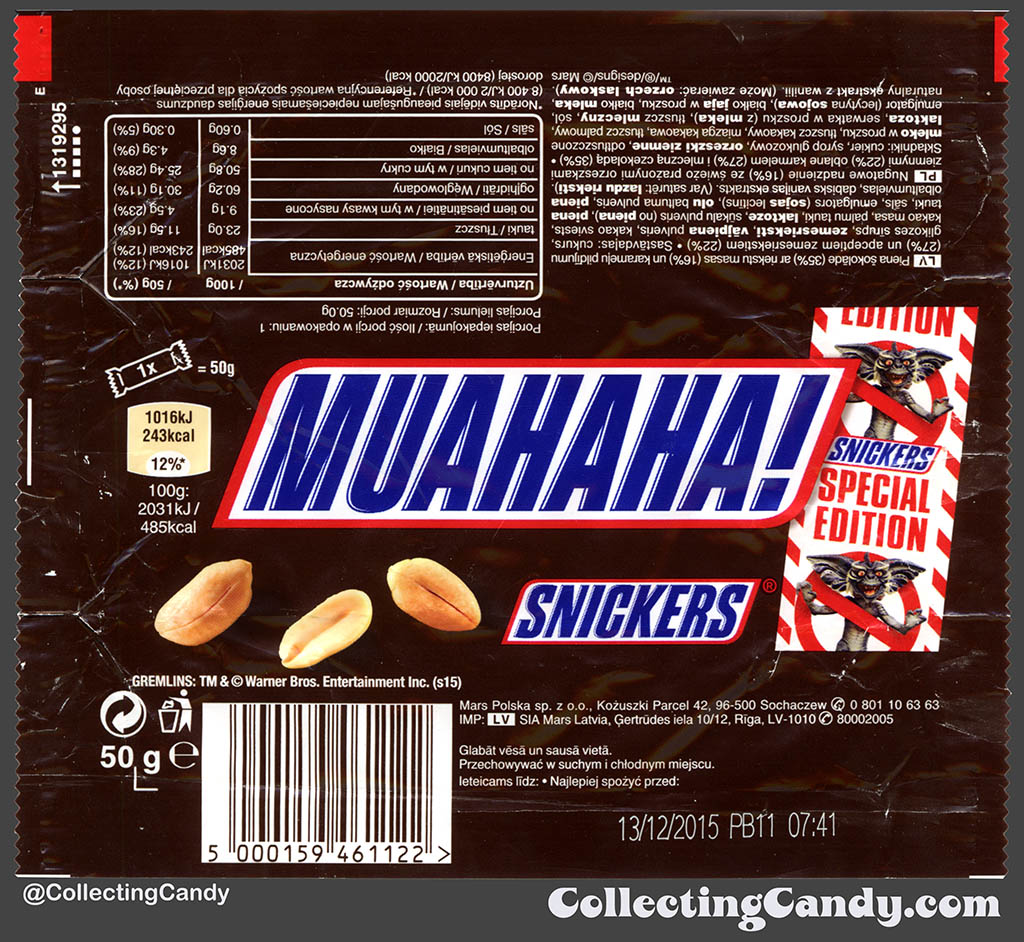 Poland - Mars - Snickers Gremlins Special Edition - Muahaha! - 50g chocolate candy bar wrapper - 2015