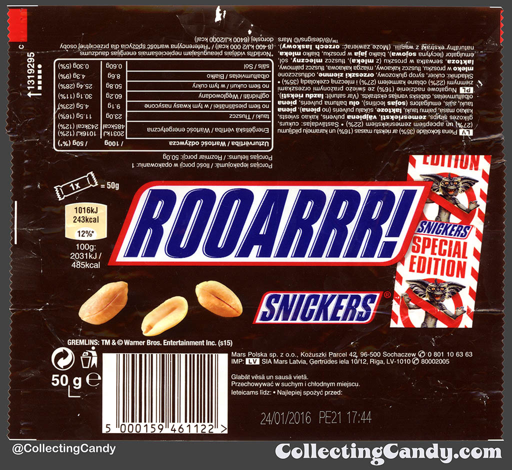 Poland - Mars - Snickers Gremlins Special Edition - Rooarrr! - 50g chocolate candy bar wrapper - 2015
